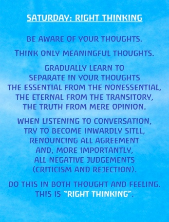 Saturday: Right Thinking Exercises for the Days of the Week by Rudolf  Steiner | Well Wishers Group