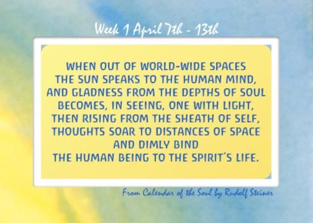 1. April 7 -13 Calendar of the Soul