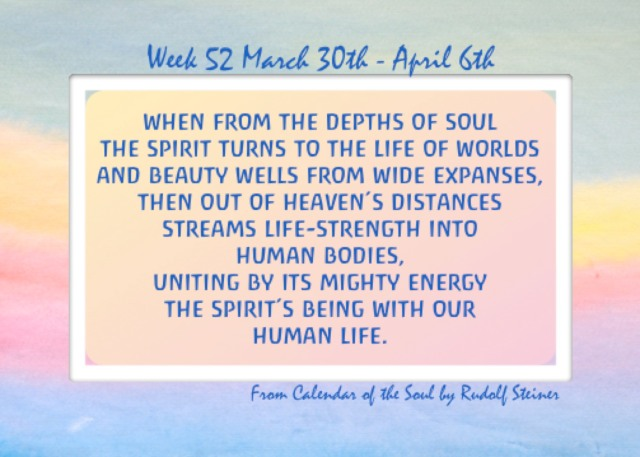 52. March 30- April 6 Calendar of the Soul
